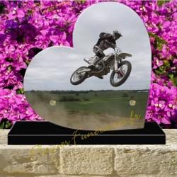 PLAQUE FUNÉRAIRE COEUR PLEXI MOTO CROSS 00700