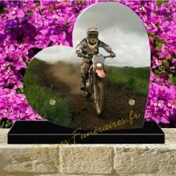 PLAQUE FUNÉRAIRE COEUR PLEXI MOTO CROSS 00701