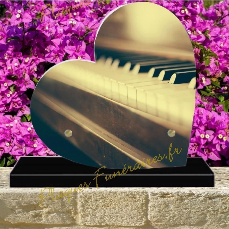 PLAQUE FUNÉRAIRE COEUR PLEXI PIANO 00806