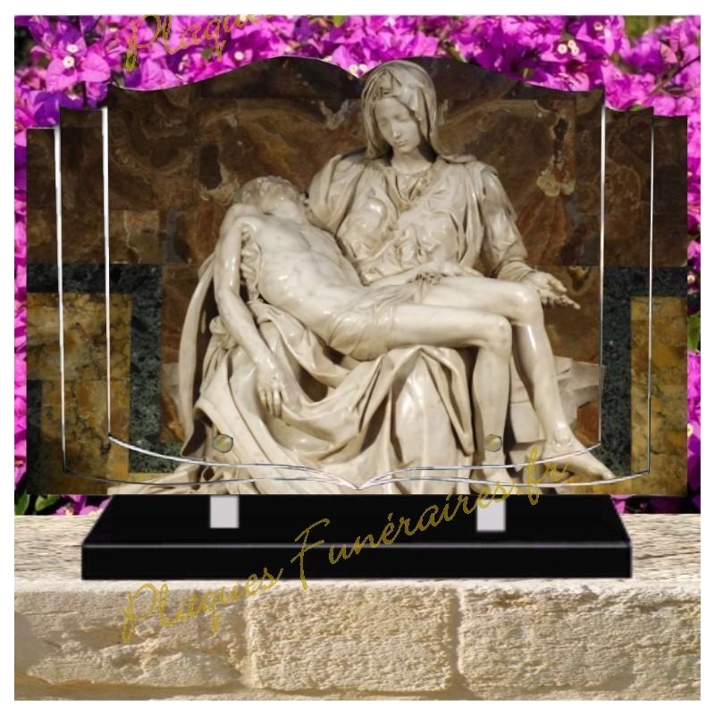 PLAQUE FUNÉRAIRE LIVRE PLEXI CHRIST W00608