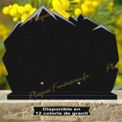PLAQUE FUNÉRAIRE GRANIT MONTAGNE CG17 SUR SOCLE