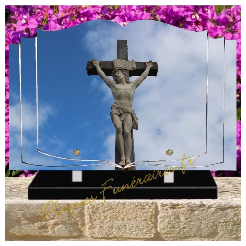 PLAQUE FUNÉRAIRE LIVRE PLEXI CROIX CHRIST W00607