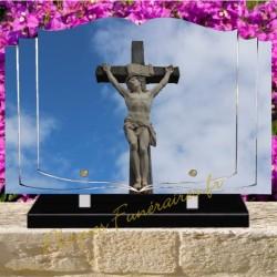 PLAQUE FUNÉRAIRE COEUR PLEXI CHRIST CROIX 00607