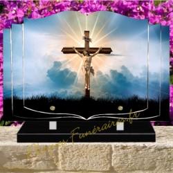 PLAQUE FUNÉRAIRE LIVRE PLEXI CHRIST CROIX W00603