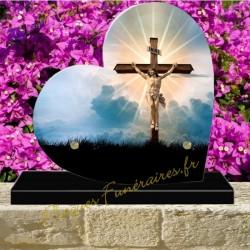 PLAQUE FUNÉRAIRE COEUR PLEXI CHRIST CROIX 00603
