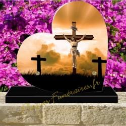 PLAQUE FUNÉRAIRE COEUR PLEXI CHRIST CROIX 00606