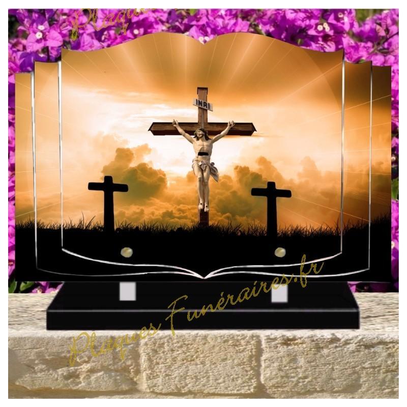 PLAQUE FUNÉRAIRE LIVRE PLEXI CROIX CHRIST W00606