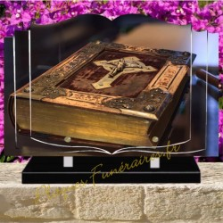 PLAQUE FUNÉRAIRE LIVRE PLEXI BIBLE PROTESTANTE W00617