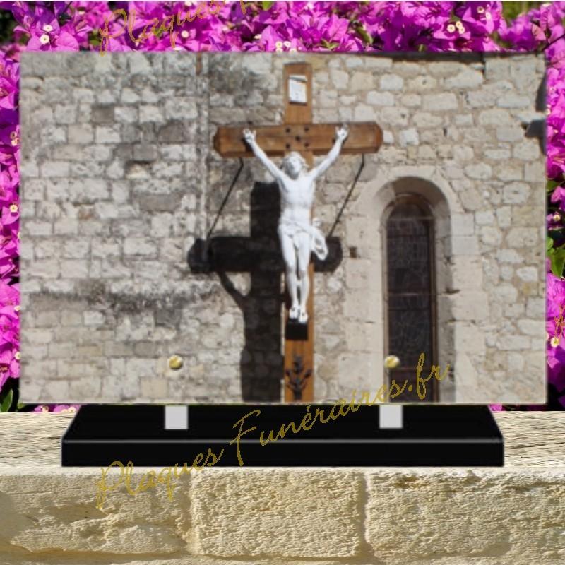 PLAQUE FUNÉRAIRE PLEXI CHRIST 02103