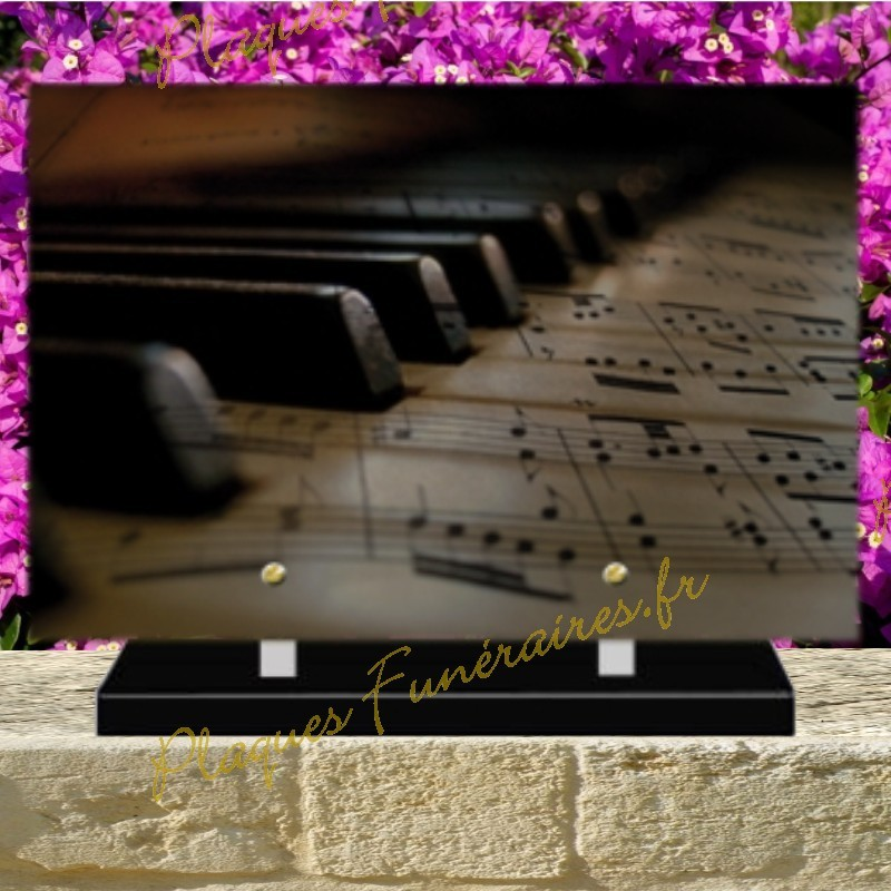 PLAQUE FUNÉRAIRE PLEXI PIANO 02110