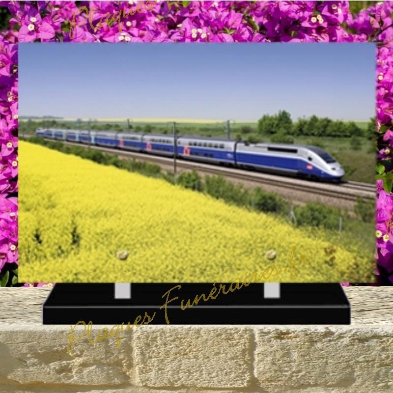 PLAQUE FUNÉRAIRE PLEXI TRAIN TGV 02130