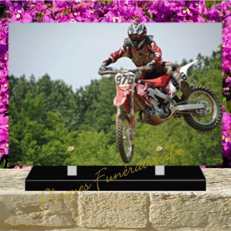 PLAQUE FUNÉRAIRE PLEXI MOTO CROSS 02132