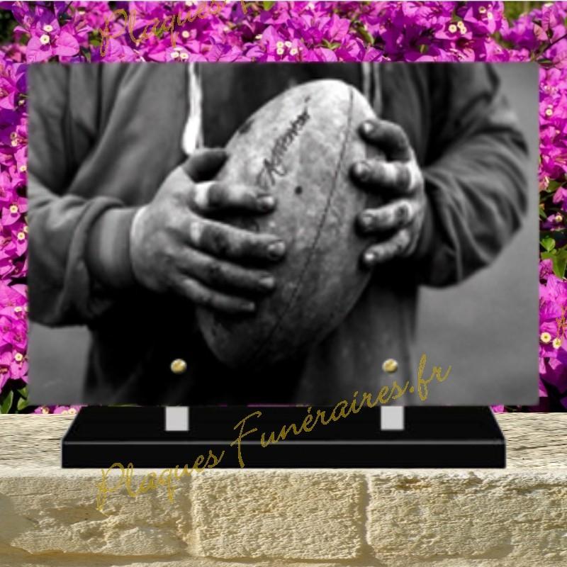 PLAQUE FUNÉRAIRE PLEXI BALLON RUGBY 02141