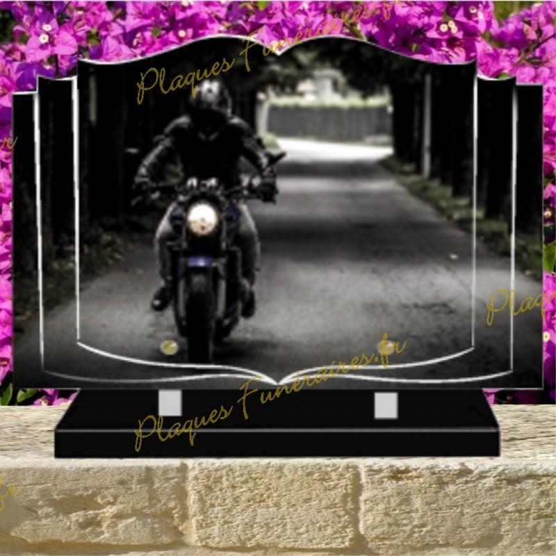 PLAQUE FUNÉRAIRE LIVRE PLEXI MOTARD MOTO 02133