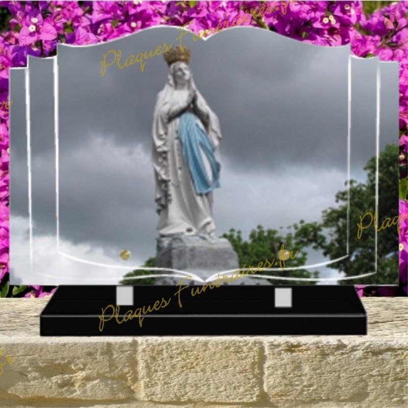 PLAQUE FUNÉRAIRE LIVRE PLEXI VIERGE MARIE 02102