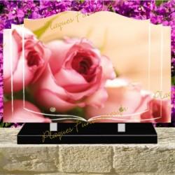 PLAQUE FUNÉRAIRE LIVRE PLEXI ROSES ROSES 0232