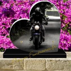 PLAQUE FUNÉRAIRE COEUR PLEXI MOTO MOTARD 02133