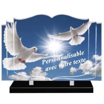 plaque funeraire livre ouvert plexi personnalisable