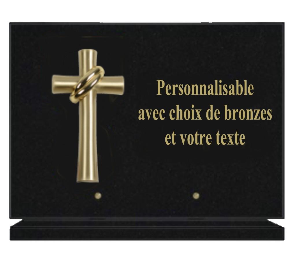 plaques funéraires granit rectangulaires personnalisées avec bronze
