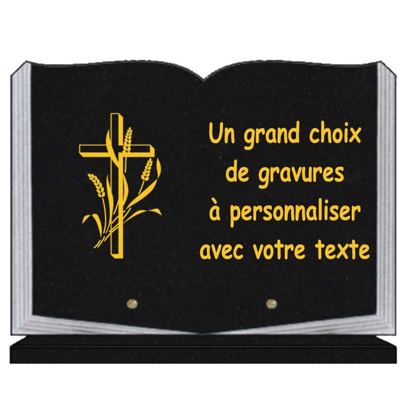 Plaque funéraire granit religion catholique