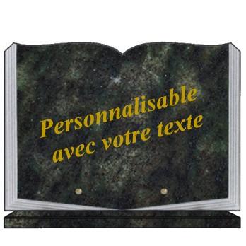 plaque funeraire livre ouvert granit personnalisable