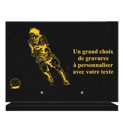PLAQUE FUNÉRAIRE GRANIT FOOTBALL FOOTBALLEUR